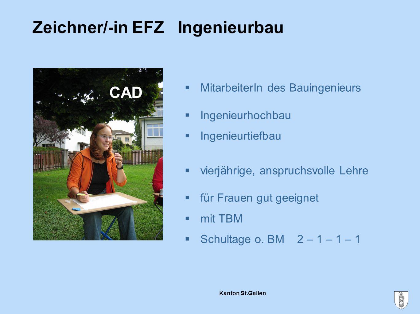 Kanton St.Gallen Zeichner/-in EFZ Ingenieurbau  MitarbeiterIn des Bauingenieurs  Ingenieurhochbau  Ingenieurtiefbau  vierjährige, anspruchsvolle L
