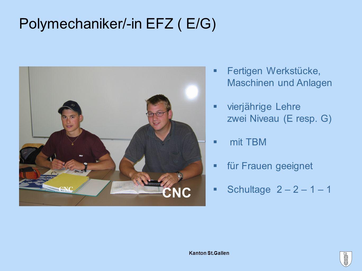Kanton St.Gallen Polymechaniker/-in EFZ ( E/G)  Fertigen Werkstücke, Maschinen und Anlagen  vierjährige Lehre zwei Niveau (E resp. G)  mit TBM  fü