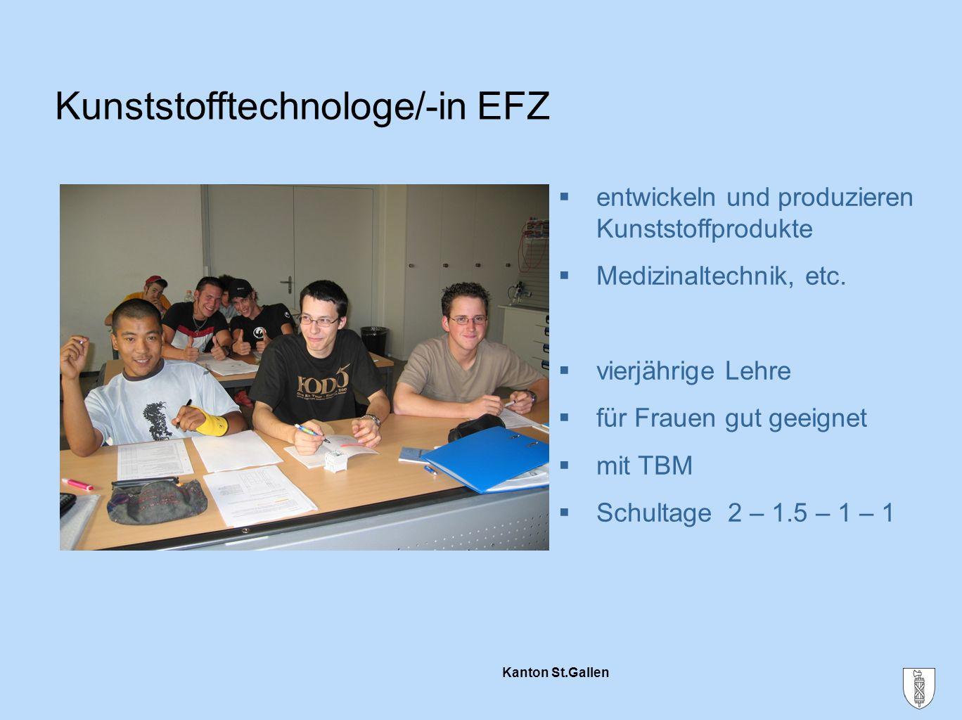 Kanton St.Gallen  entwickeln und produzieren Kunststoffprodukte  Medizinaltechnik, etc.  vierjährige Lehre  für Frauen gut geeignet  mit TBM  Sc
