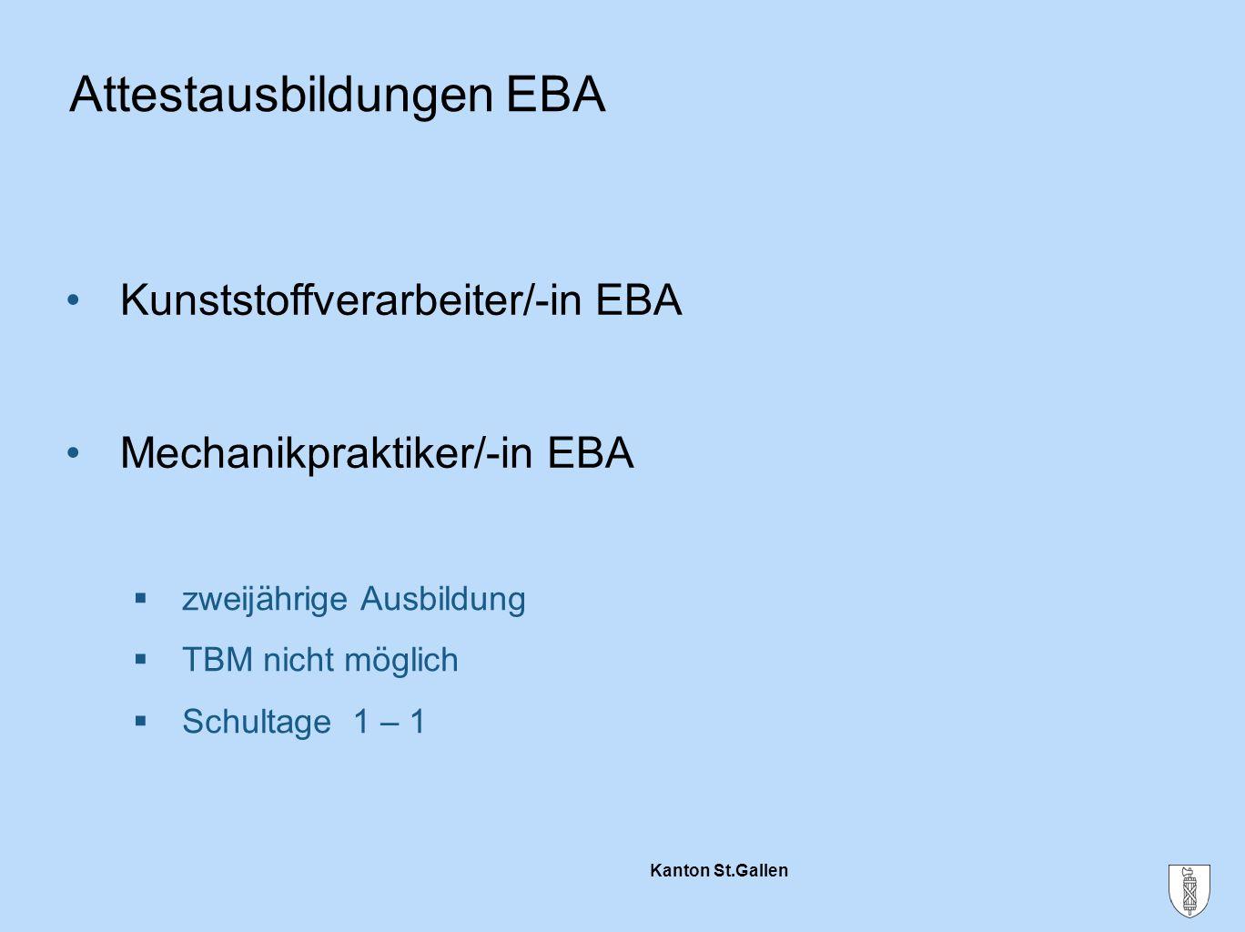 Kanton St.Gallen  zweijährige Ausbildung  TBM nicht möglich  Schultage 1 – 1 Attestausbildungen EBA Kunststoffverarbeiter/-in EBA Mechanikpraktiker