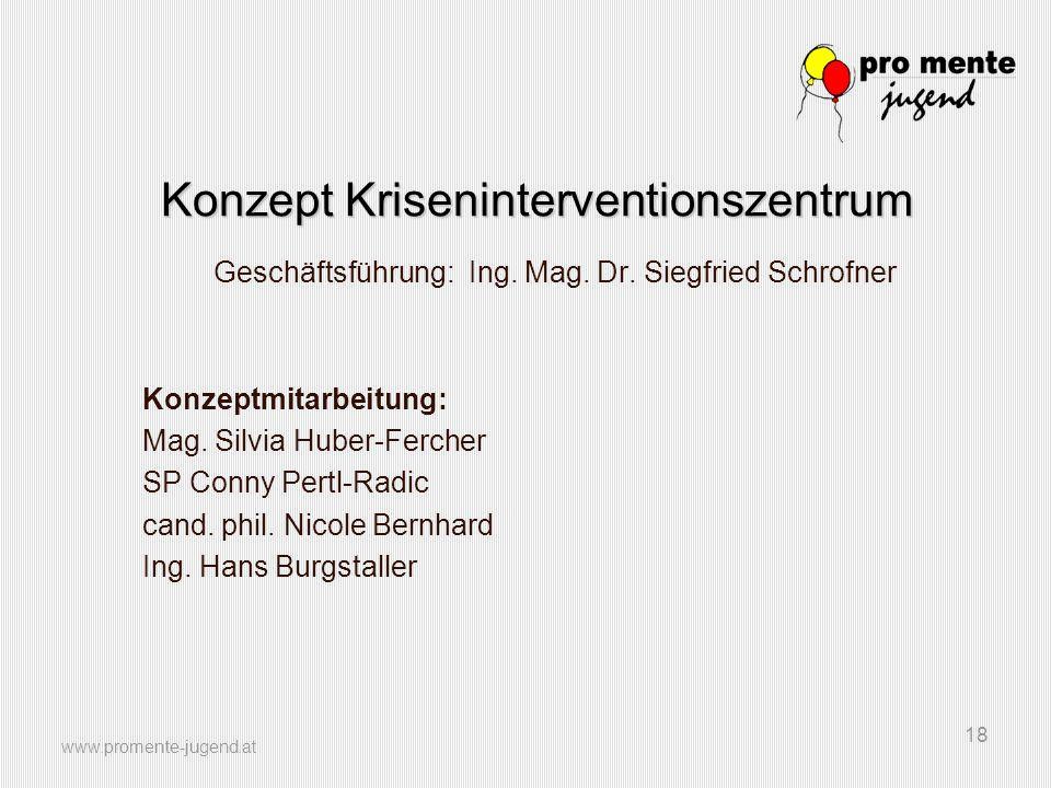 www.promente-jugend.at 18 Konzept Kriseninterventionszentrum Geschäftsführung: Ing. Mag. Dr. Siegfried Schrofner Konzeptmitarbeitung: Mag. Silvia Hube