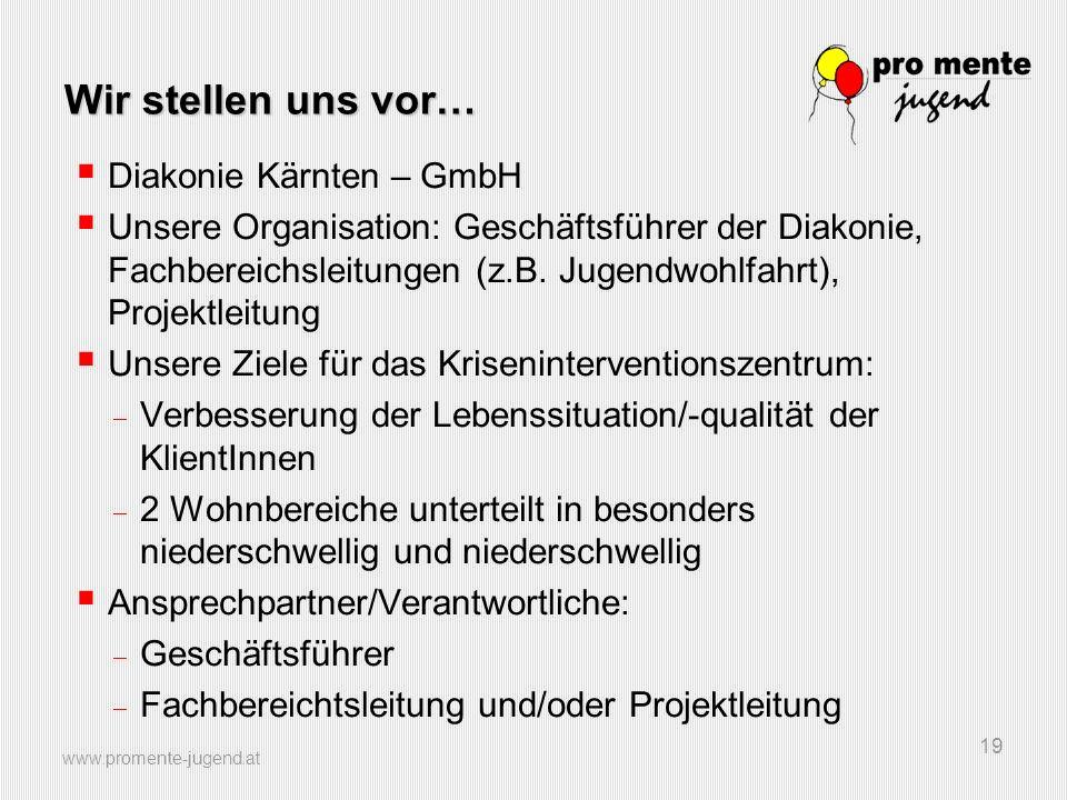 www.promente-jugend.at 19 Wir stellen uns vor…  Diakonie Kärnten – GmbH  Unsere Organisation: Geschäftsführer der Diakonie, Fachbereichsleitungen (z