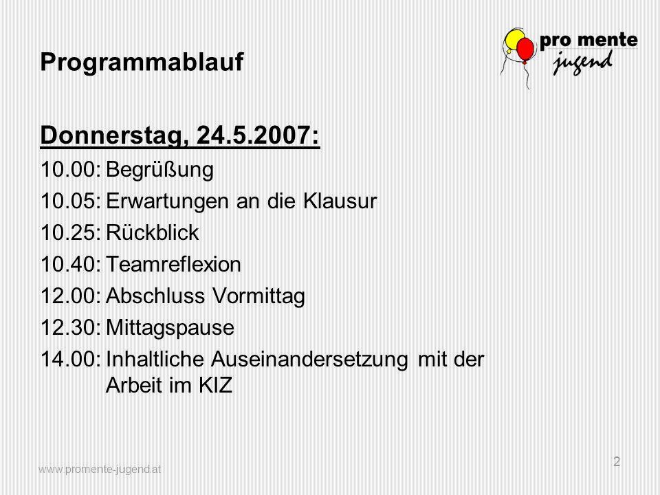 www.promente-jugend.at 2 Programmablauf Donnerstag, 24.5.2007: 10.00:Begrüßung 10.05:Erwartungen an die Klausur 10.25:Rückblick 10.40:Teamreflexion 12