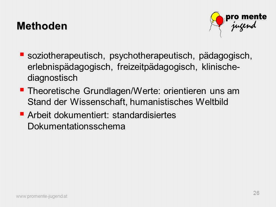 www.promente-jugend.at 26 Methoden  soziotherapeutisch, psychotherapeutisch, pädagogisch, erlebnispädagogisch, freizeitpädagogisch, klinische- diagno