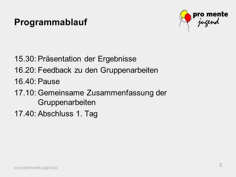 www.promente-jugend.at 3 Programmablauf 15.30:Präsentation der Ergebnisse 16.20:Feedback zu den Gruppenarbeiten 16.40:Pause 17.10:Gemeinsame Zusammenf