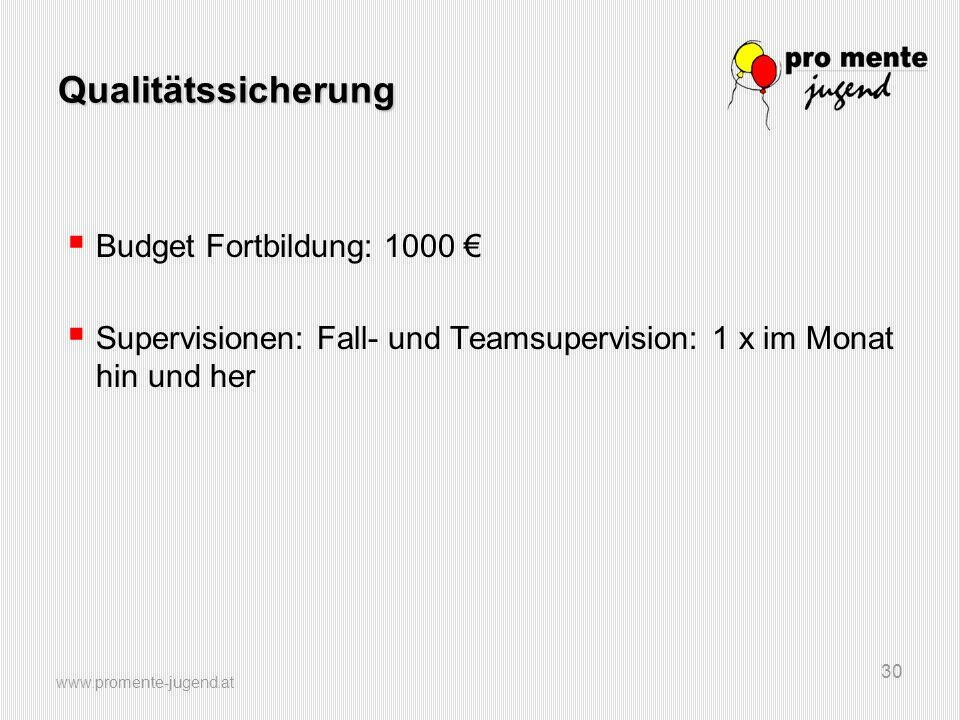 www.promente-jugend.at 30 Qualitätssicherung  Budget Fortbildung: 1000 €  Supervisionen: Fall- und Teamsupervision: 1 x im Monat hin und her