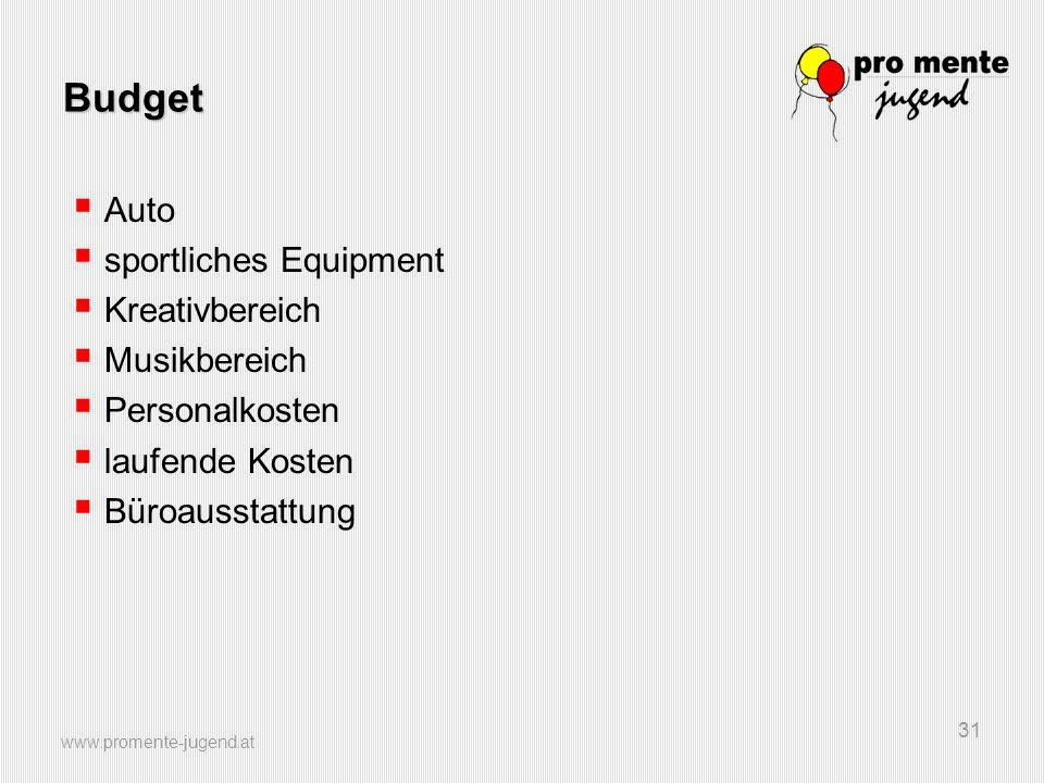 www.promente-jugend.at 31 Budget  Auto  sportliches Equipment  Kreativbereich  Musikbereich  Personalkosten  laufende Kosten  Büroausstattung