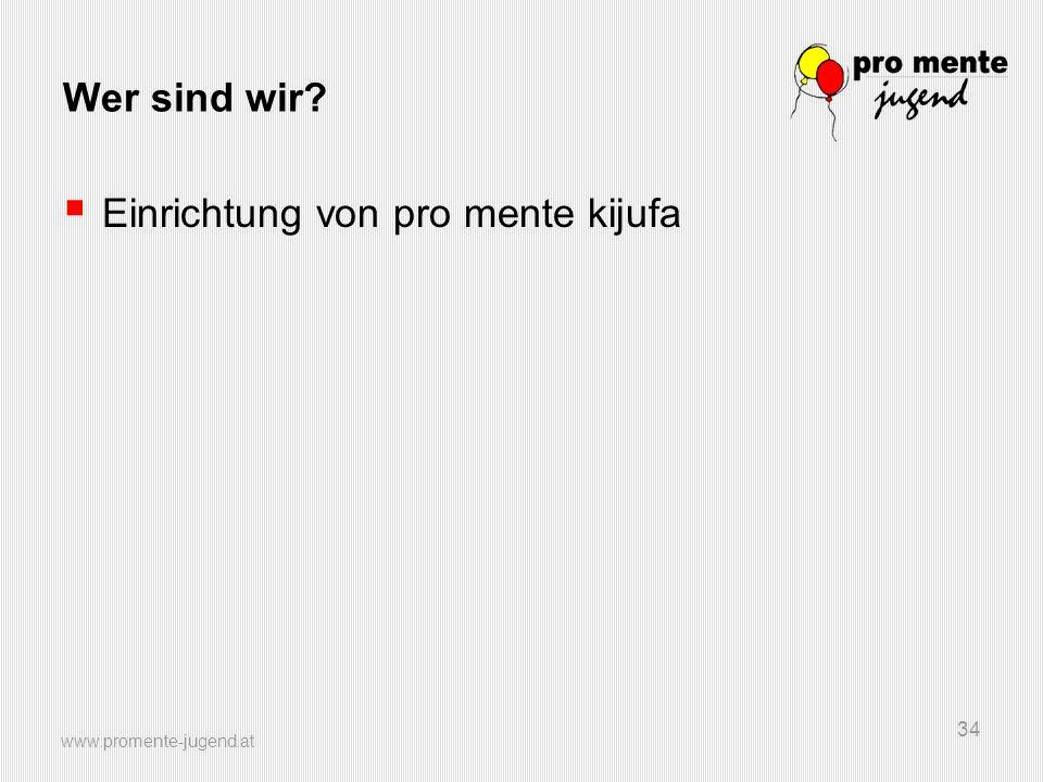 www.promente-jugend.at 34 Wer sind wir?  Einrichtung von pro mente kijufa