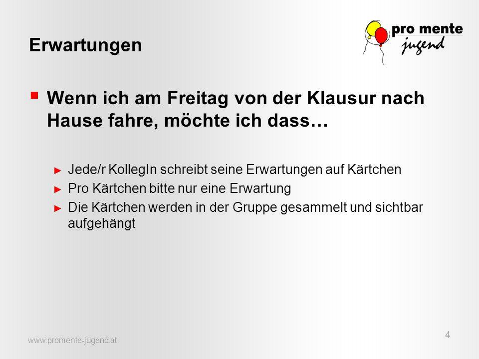www.promente-jugend.at 25 Rahmenbedingungen  Zeit dafür: 12 Wochen (nicht unbedingt an Clearing geknüpft).