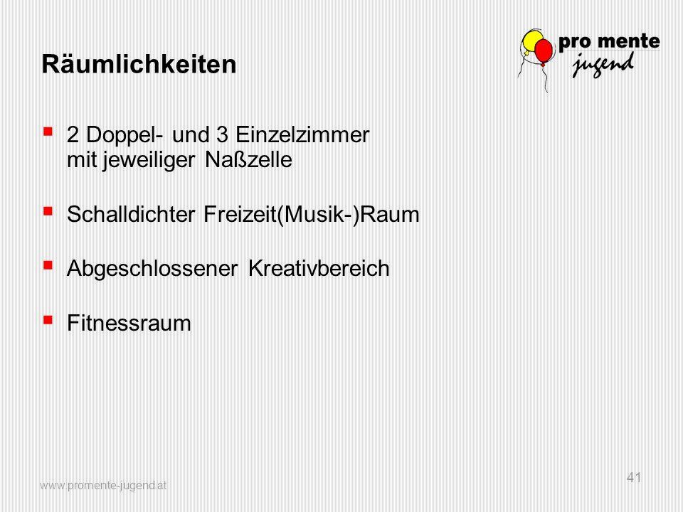 www.promente-jugend.at 41 Räumlichkeiten  2 Doppel- und 3 Einzelzimmer mit jeweiliger Naßzelle  Schalldichter Freizeit(Musik-)Raum  Abgeschlossener