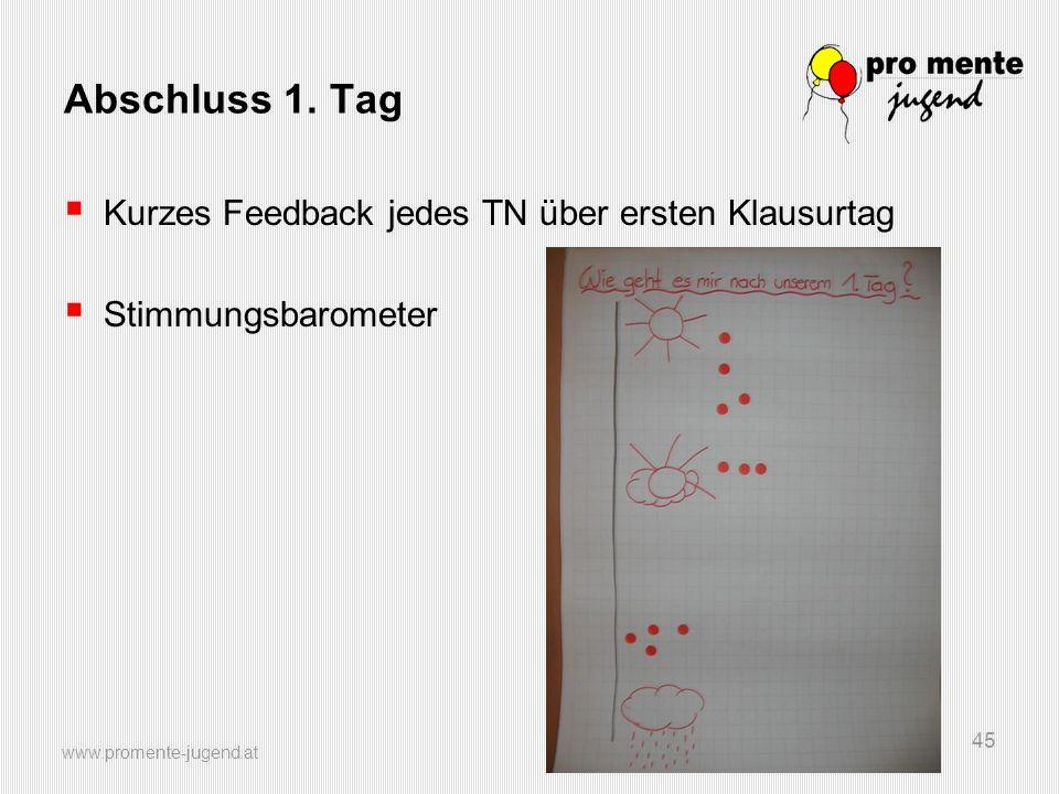 www.promente-jugend.at 45 Abschluss 1. Tag  Kurzes Feedback jedes TN über ersten Klausurtag  Stimmungsbarometer