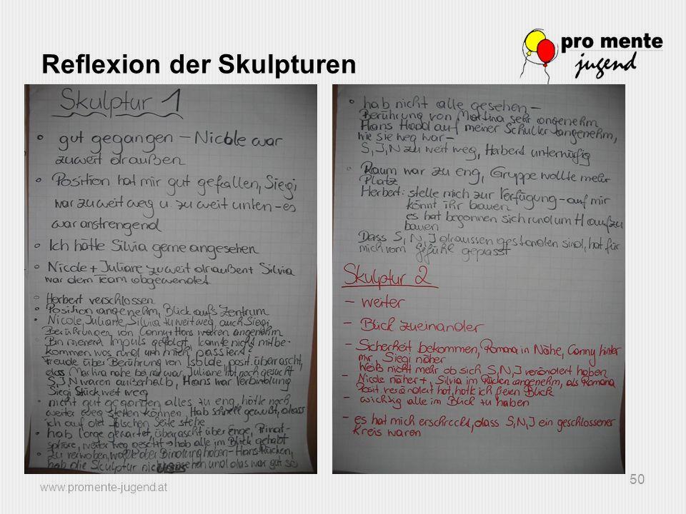 www.promente-jugend.at 50 Reflexion der Skulpturen