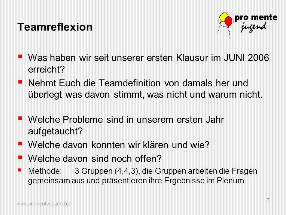 www.promente-jugend.at 7 Teamreflexion  Was haben wir seit unserer ersten Klausur im JUNI 2006 erreicht?  Nehmt Euch die Teamdefinition von damals h