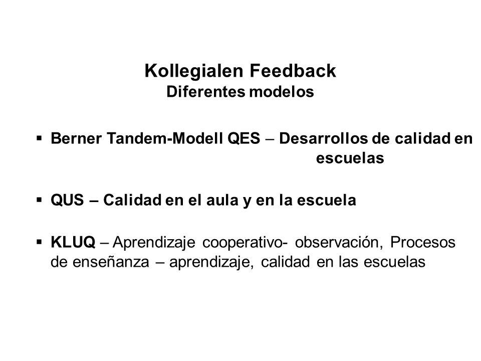 Kollegialen Feedback Diferentes modelos  Berner Tandem-Modell QES – Desarrollos de calidad en escuelas  QUS – Calidad en el aula y en la escuela  K