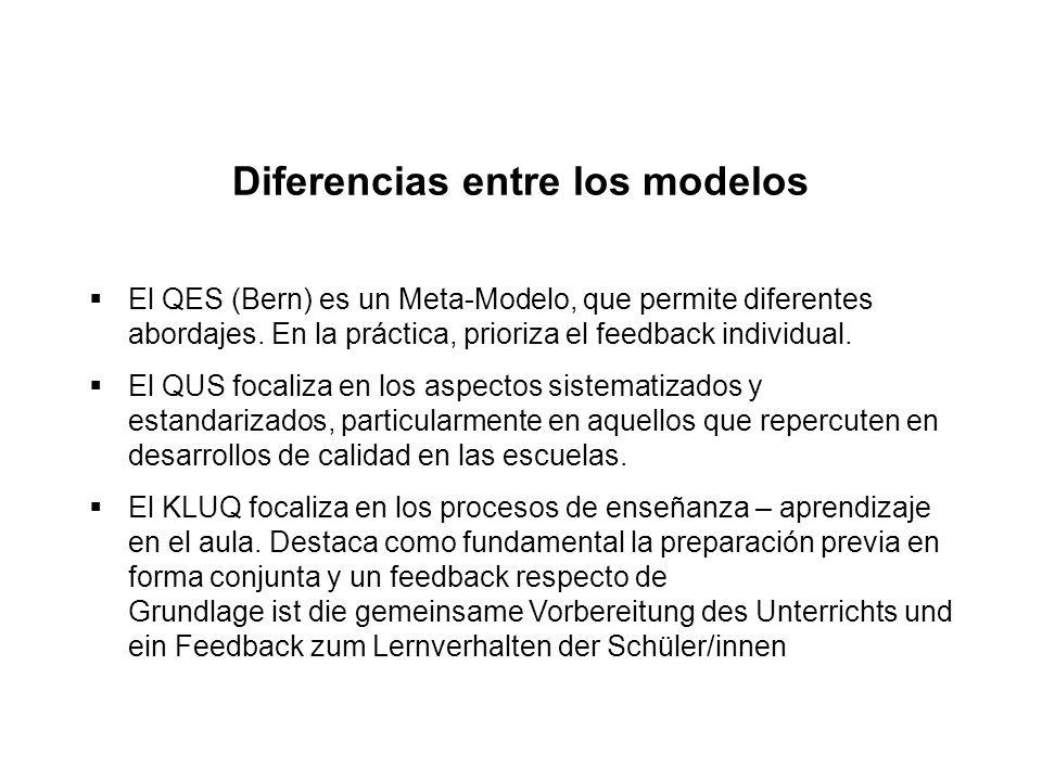 Diferencias entre los modelos  El QES (Bern) es un Meta-Modelo, que permite diferentes abordajes. En la práctica, prioriza el feedback individual. 