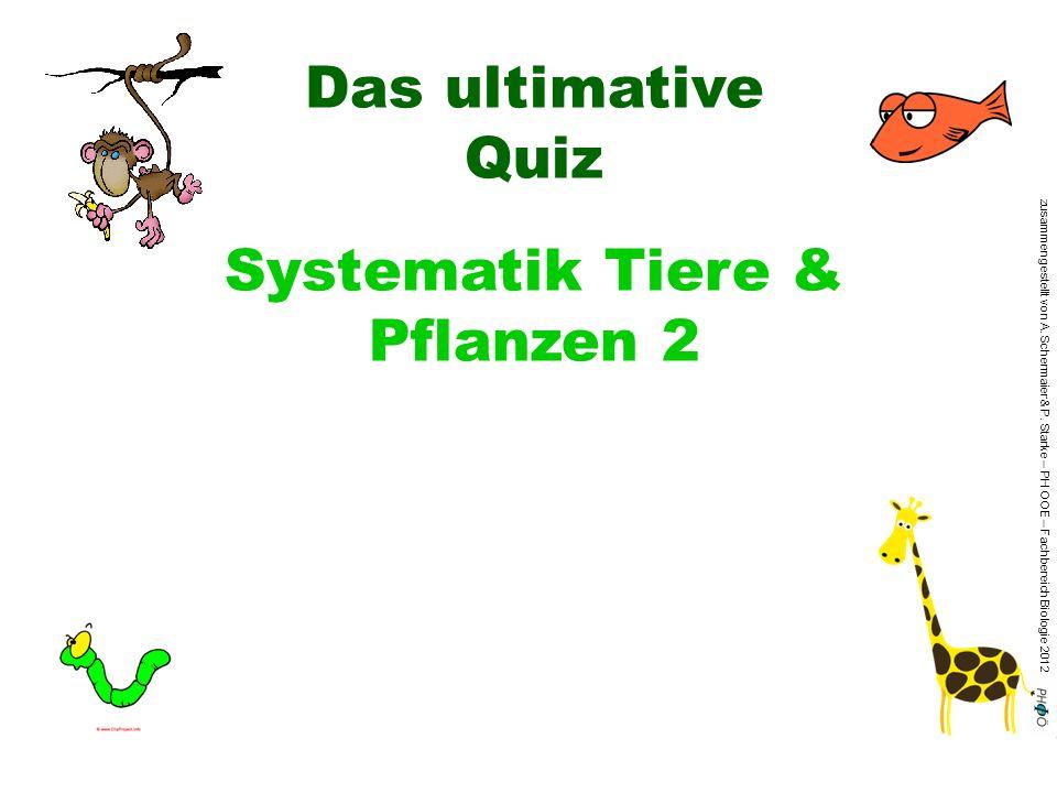 zusammengestellt von A. Schermaier & P. Starke – PH OOE – Fachbereich Biologie 2012 Das ultimative Quiz Systematik Tiere & Pflanzen 2