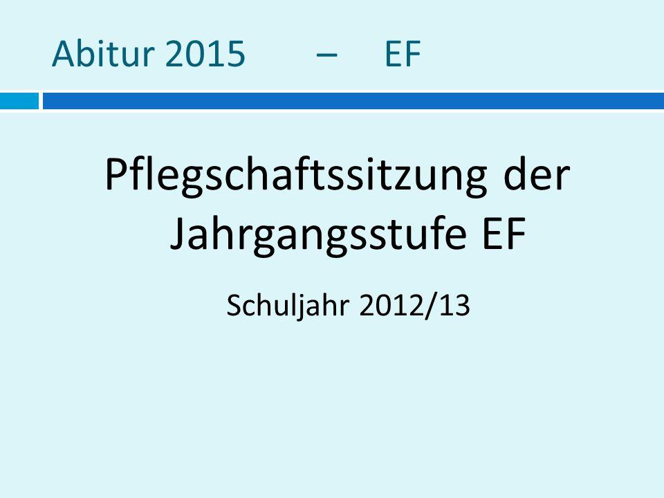 Abitur 2015 – EF Pflegschaftssitzung der Jahrgangsstufe EF Schuljahr 2012/13