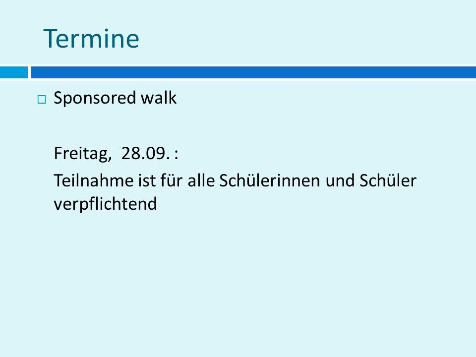 Termine  Sponsored walk Freitag, 28.09.