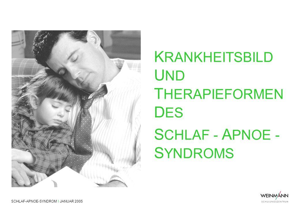 SCHLAF-APNOE-SYNDROM I JANUAR 2005 Krankheitsbild und Therapieformen des Schlaf-Apnoe-Syndroms K RANKHEITSBILD U ND T HERAPIEFORMEN D ES S CHLAF - A P