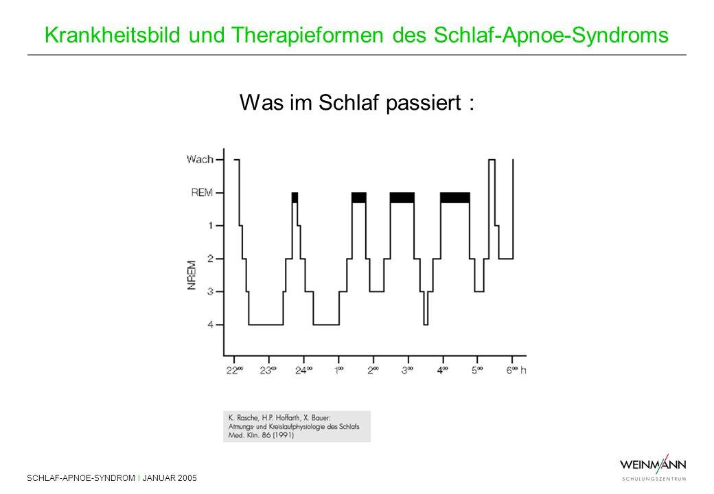 SCHLAF-APNOE-SYNDROM I JANUAR 2005 Krankheitsbild und Therapieformen des Schlaf-Apnoe-Syndroms Was im Schlaf passiert :