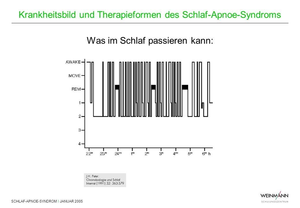 SCHLAF-APNOE-SYNDROM I JANUAR 2005 Krankheitsbild und Therapieformen des Schlaf-Apnoe-Syndroms Was im Schlaf passieren kann: