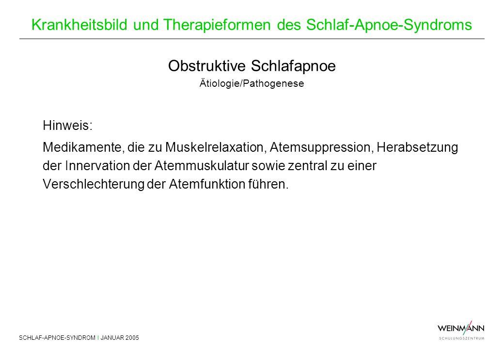 SCHLAF-APNOE-SYNDROM I JANUAR 2005 Krankheitsbild und Therapieformen des Schlaf-Apnoe-Syndroms Hinweis: Medikamente, die zu Muskelrelaxation, Atemsupp