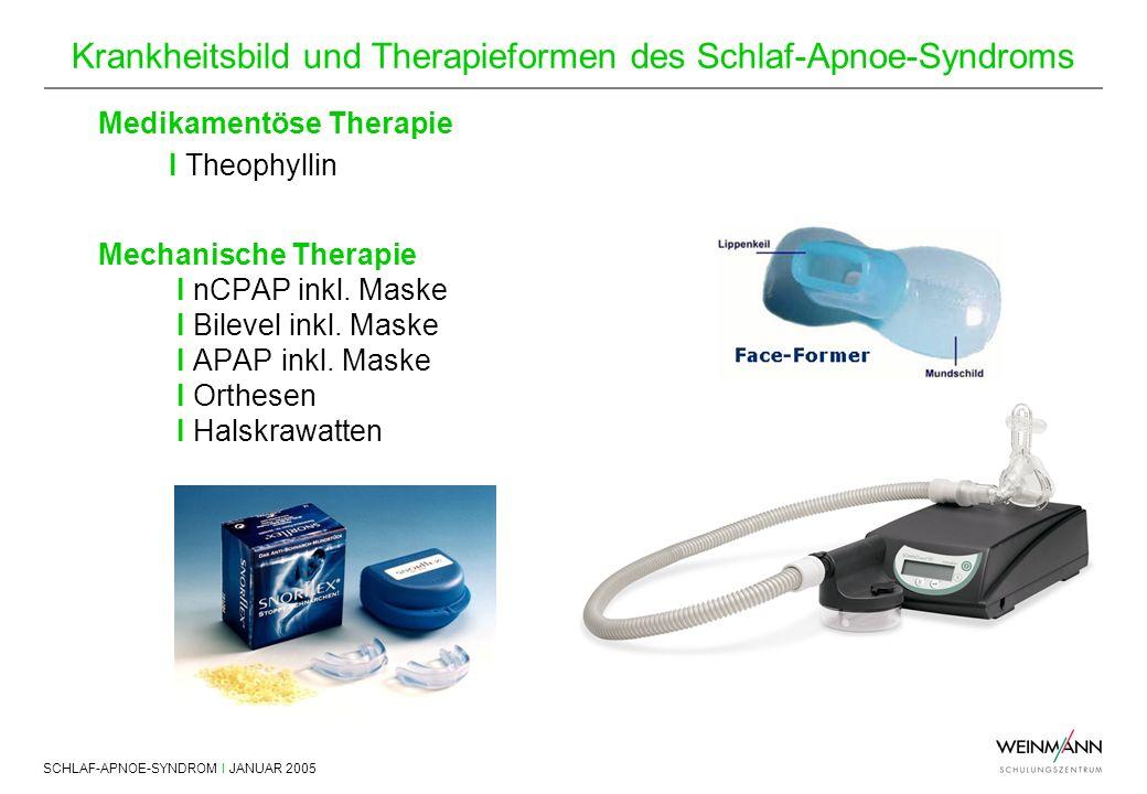 SCHLAF-APNOE-SYNDROM I JANUAR 2005 Krankheitsbild und Therapieformen des Schlaf-Apnoe-Syndroms Medikamentöse Therapie I Theophyllin Mechanische Therap