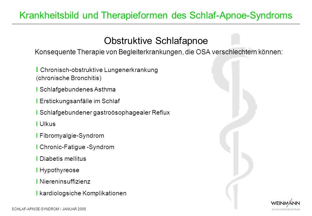 SCHLAF-APNOE-SYNDROM I JANUAR 2005 Krankheitsbild und Therapieformen des Schlaf-Apnoe-Syndroms Obstruktive Schlafapnoe Konsequente Therapie von Beglei
