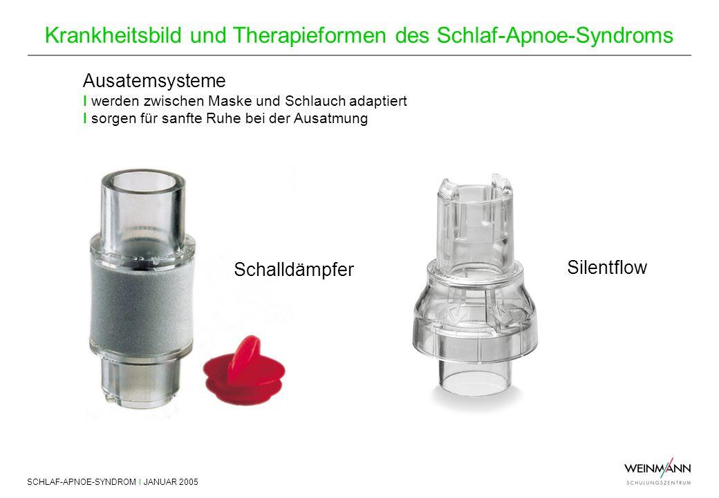 SCHLAF-APNOE-SYNDROM I JANUAR 2005 Krankheitsbild und Therapieformen des Schlaf-Apnoe-Syndroms Schalldämpfer Ausatemsysteme I werden zwischen Maske un