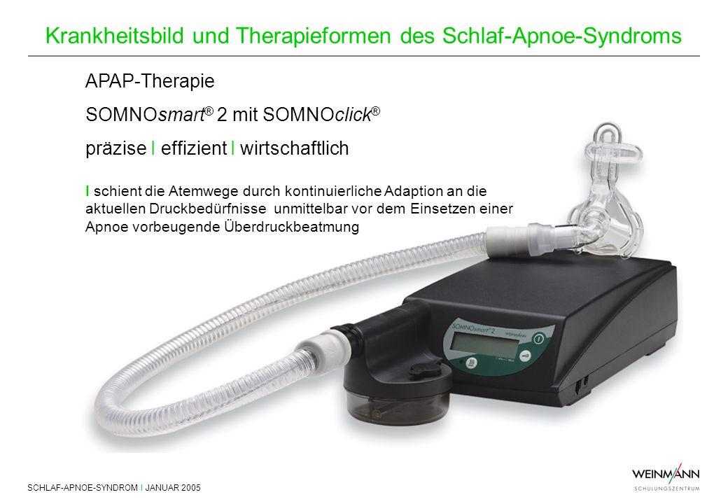 SCHLAF-APNOE-SYNDROM I JANUAR 2005 Krankheitsbild und Therapieformen des Schlaf-Apnoe-Syndroms APAP-Therapie SOMNOsmart ® 2 mit SOMNOclick ® präzise I
