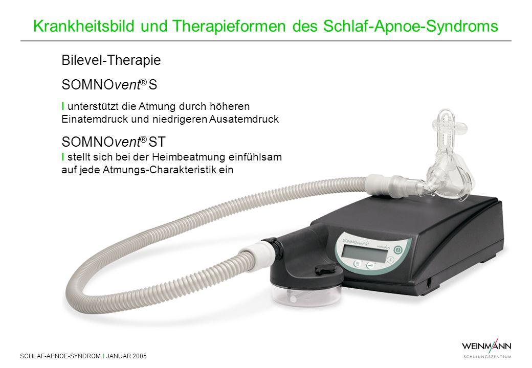 SCHLAF-APNOE-SYNDROM I JANUAR 2005 Krankheitsbild und Therapieformen des Schlaf-Apnoe-Syndroms Bilevel-Therapie SOMNOvent ® S I unterstützt die Atmung