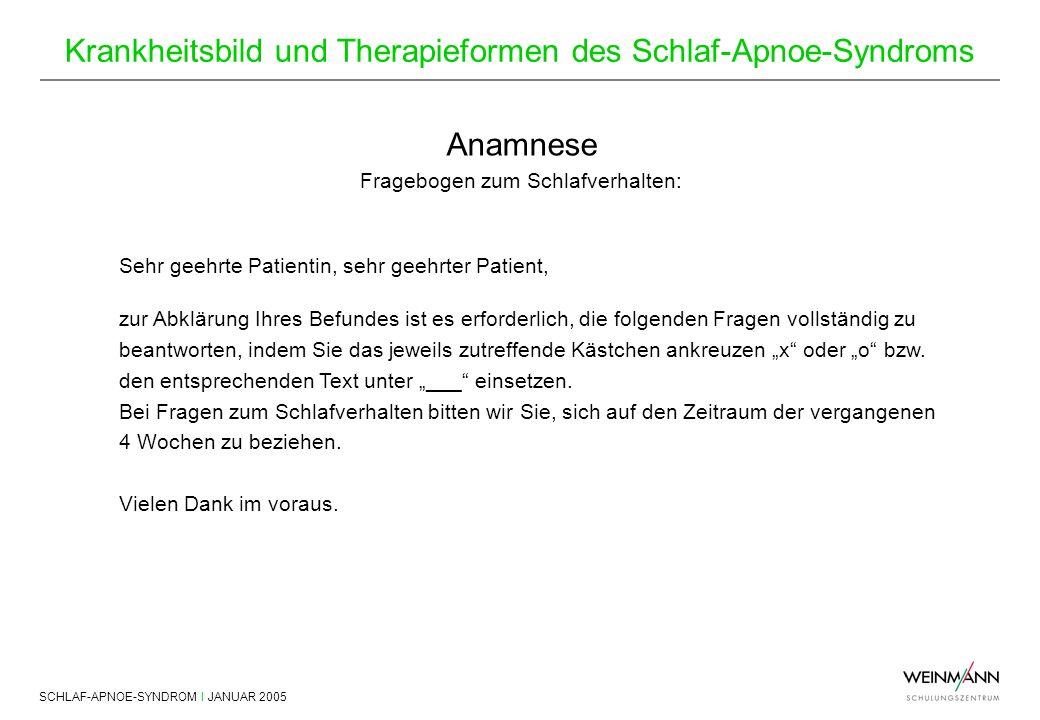 SCHLAF-APNOE-SYNDROM I JANUAR 2005 Krankheitsbild und Therapieformen des Schlaf-Apnoe-Syndroms Anamnese Fragebogen zum Schlafverhalten: Sehr geehrte P