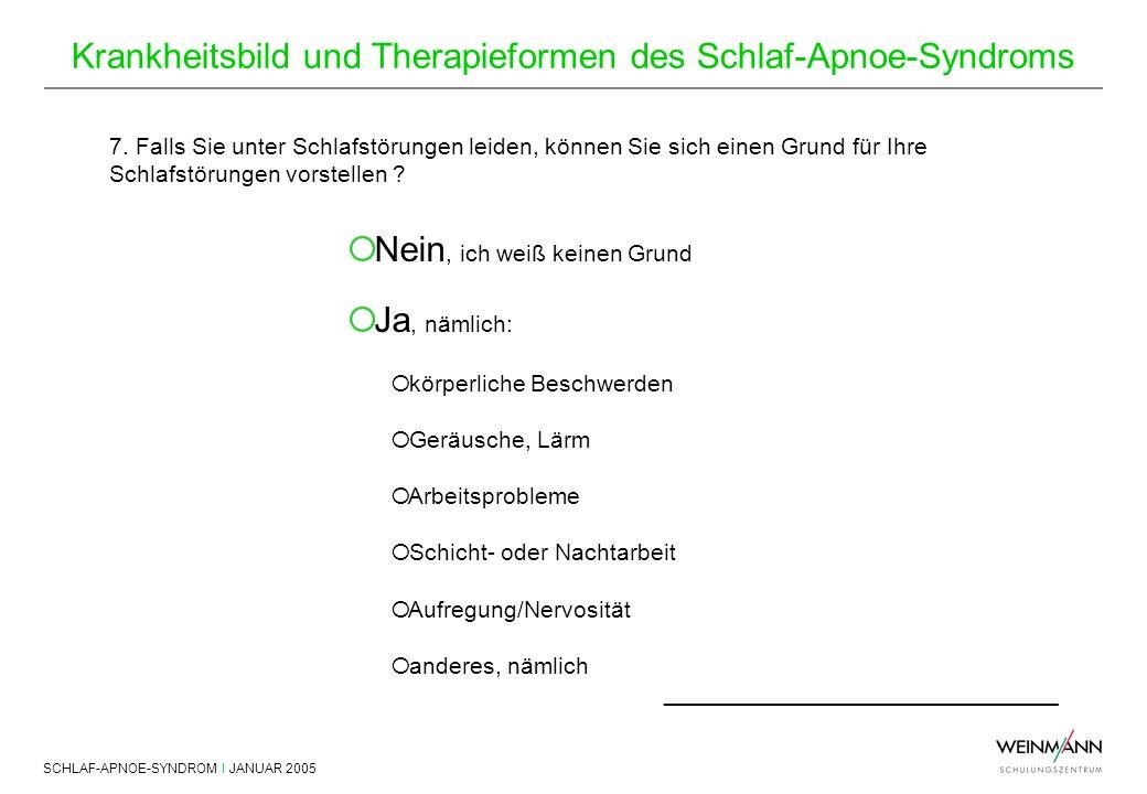 SCHLAF-APNOE-SYNDROM I JANUAR 2005 Krankheitsbild und Therapieformen des Schlaf-Apnoe-Syndroms 7. Falls Sie unter Schlafstörungen leiden, können Sie s