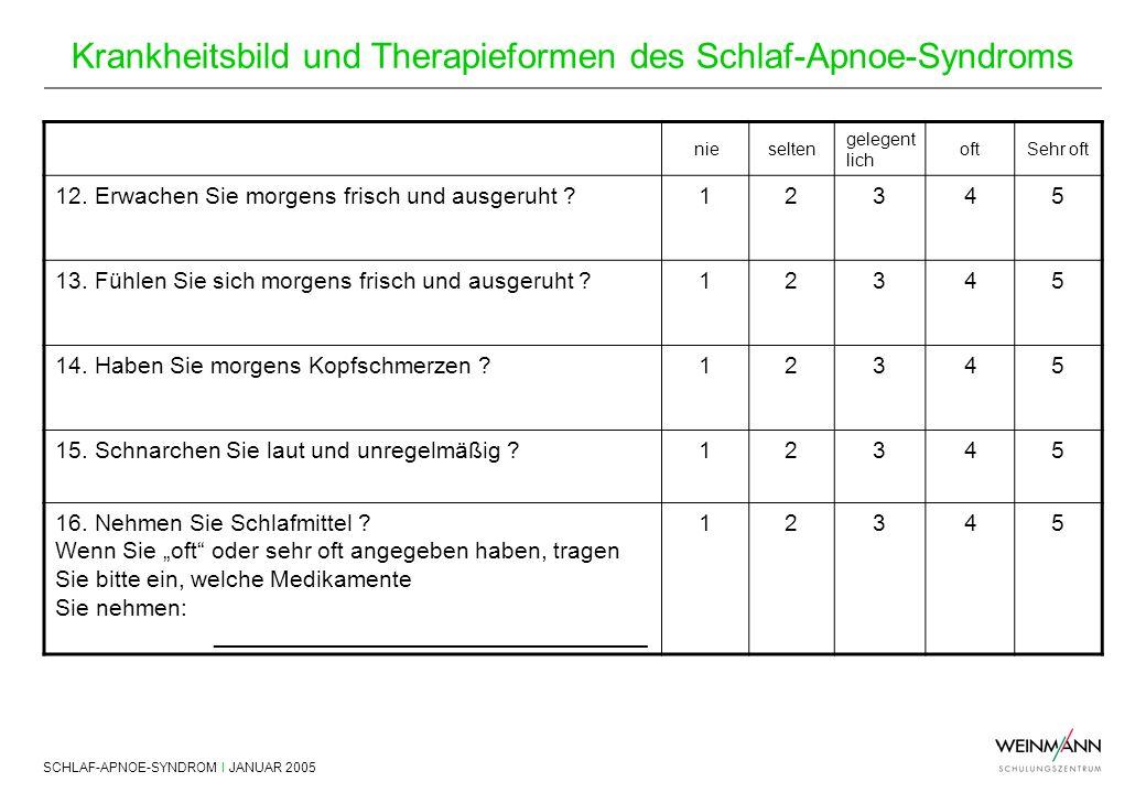 SCHLAF-APNOE-SYNDROM I JANUAR 2005 Krankheitsbild und Therapieformen des Schlaf-Apnoe-Syndroms nieselten gelegent lich oftSehr oft 12. Erwachen Sie mo