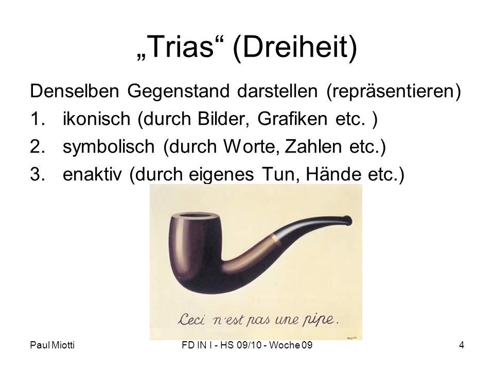 """Paul MiottiFD IN I - HS 09/10 - Woche 094 """"Trias"""" (Dreiheit) Denselben Gegenstand darstellen (repräsentieren) 1.ikonisch (durch Bilder, Grafiken etc."""