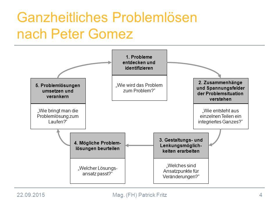 """22.09.2015Mag. (FH) Patrick Fritz4 Ganzheitliches Problemlösen nach Peter Gomez 5. Problemlösungen umsetzen und verankern """"Wie bringt man die Probleml"""