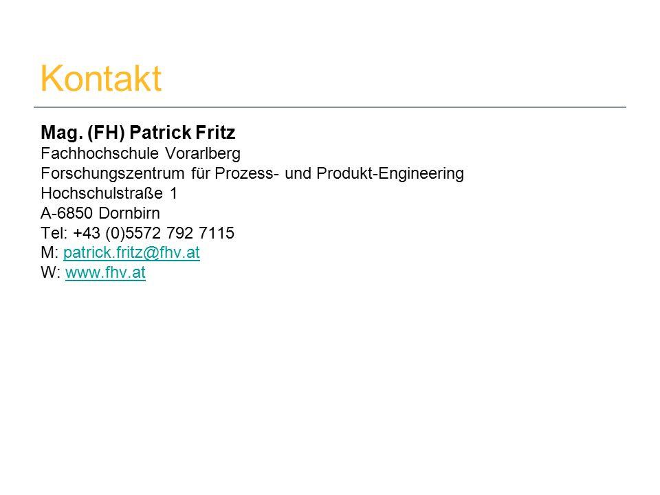 22.09.2015Mag. (FH) Patrick Fritz5 Kontakt Mag. (FH) Patrick Fritz Fachhochschule Vorarlberg Forschungszentrum für Prozess- und Produkt-Engineering Ho