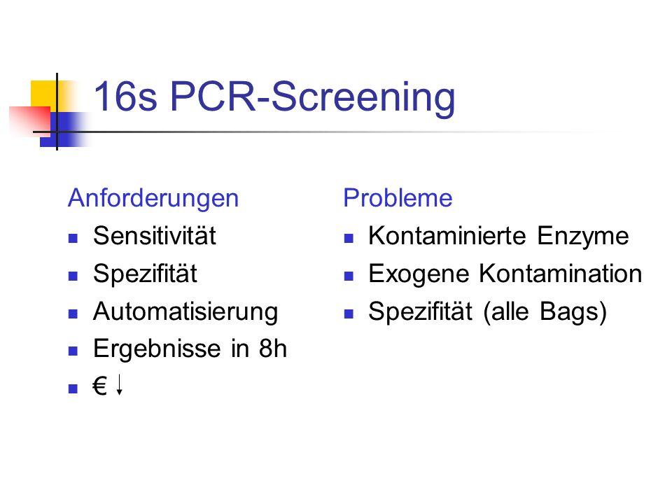 16s PCR-Screening Anforderungen Sensitivität Spezifität Automatisierung Ergebnisse in 8h € Probleme Kontaminierte Enzyme Exogene Kontamination Spezifi