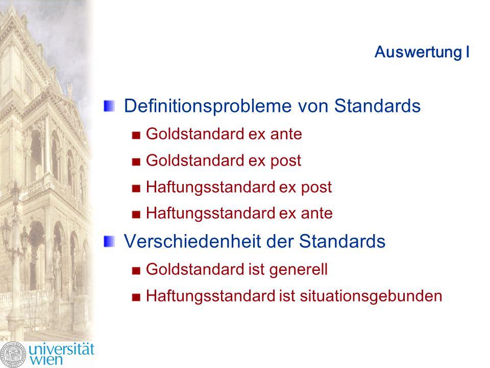 Auswertung I Definitionsprobleme von Standards Goldstandard ex ante Goldstandard ex post Haftungsstandard ex post Haftungsstandard ex ante Verschiedenheit der Standards Goldstandard ist generell Haftungsstandard ist situationsgebunden