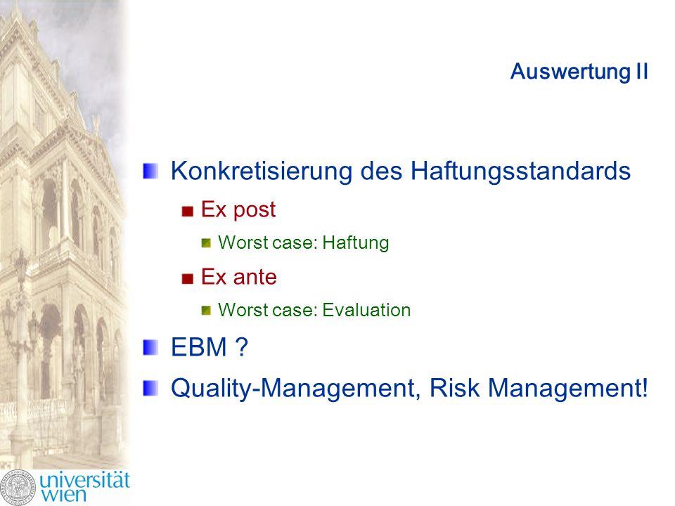 Auswertung II Konkretisierung des Haftungsstandards Ex post Worst case: Haftung Ex ante Worst case: Evaluation EBM .