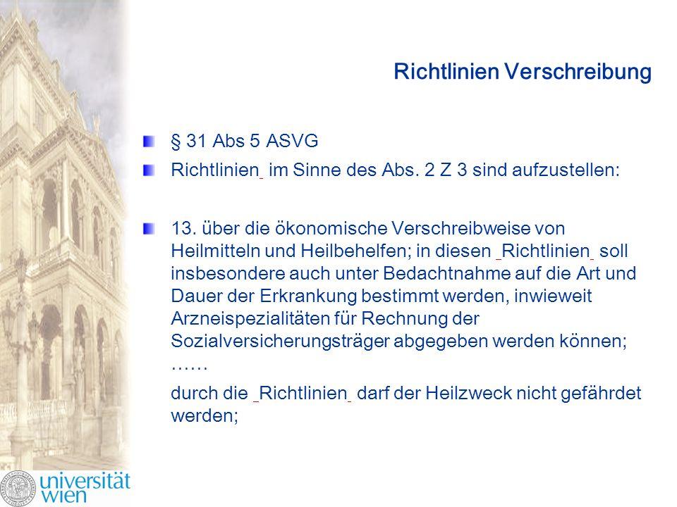Richtlinien Verschreibung § 31 Abs 5 ASVG Richtlinien im Sinne des Abs.