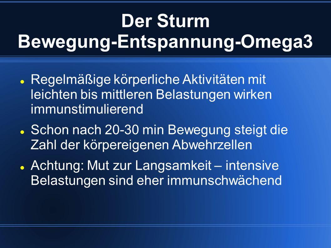 Der Sturm Bewegung-Entspannung-Omega3 Regelmäßige körperliche Aktivitäten mit leichten bis mittleren Belastungen wirken immunstimulierend Schon nach 2