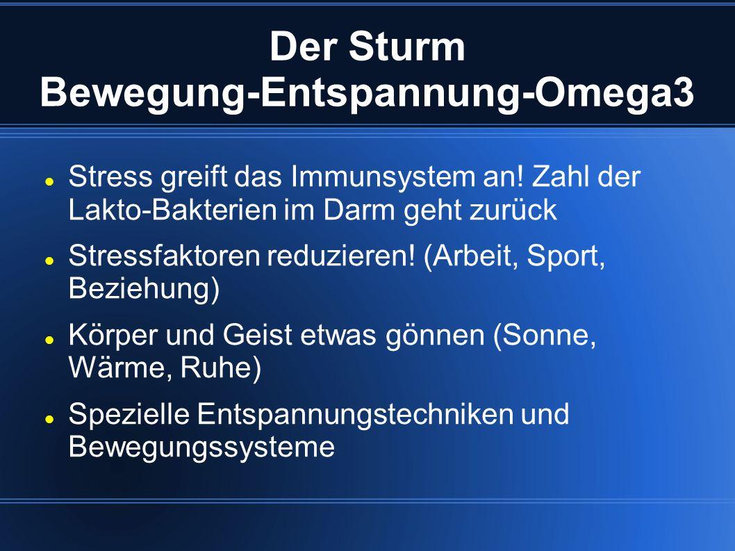 Der Sturm Bewegung-Entspannung-Omega3 Stress greift das Immunsystem an! Zahl der Lakto-Bakterien im Darm geht zurück Stressfaktoren reduzieren! (Arbei