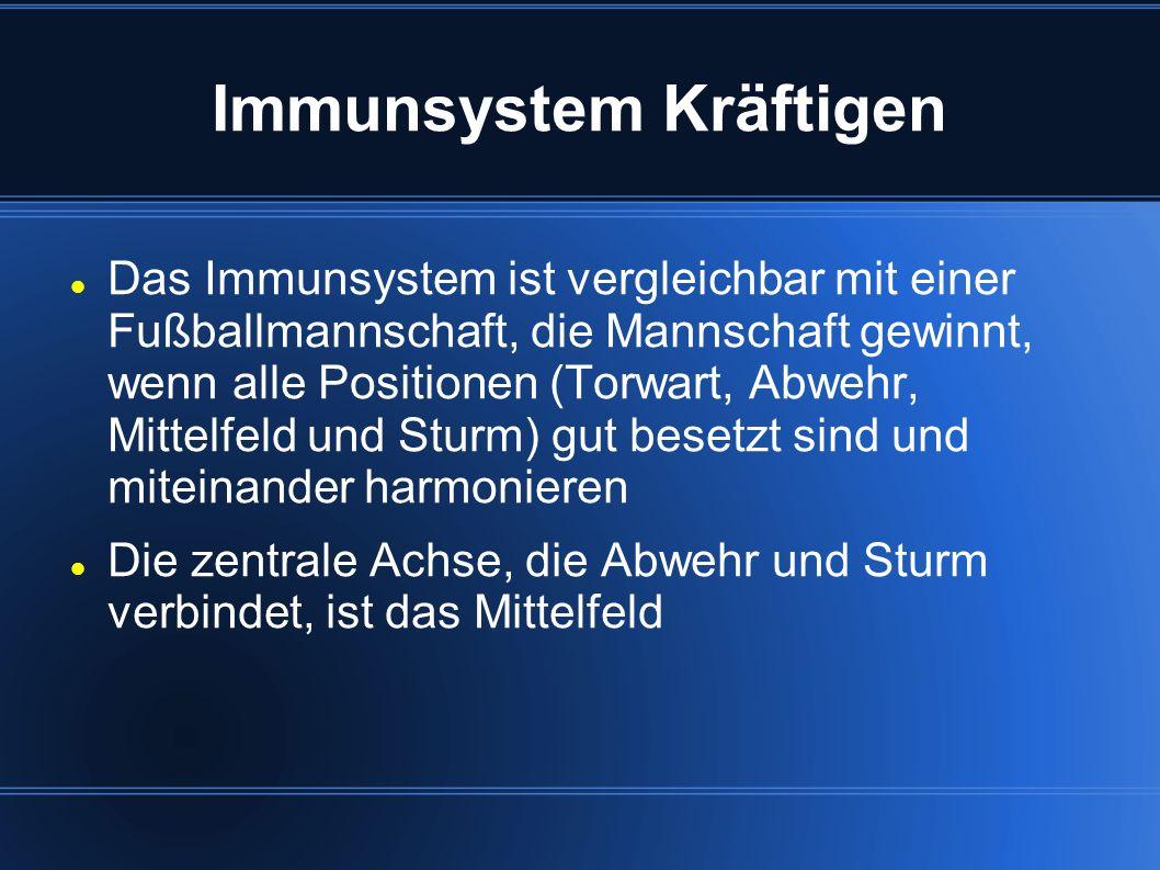 Immunsystem Kräftigen Das Immunsystem ist vergleichbar mit einer Fußballmannschaft, die Mannschaft gewinnt, wenn alle Positionen (Torwart, Abwehr, Mit