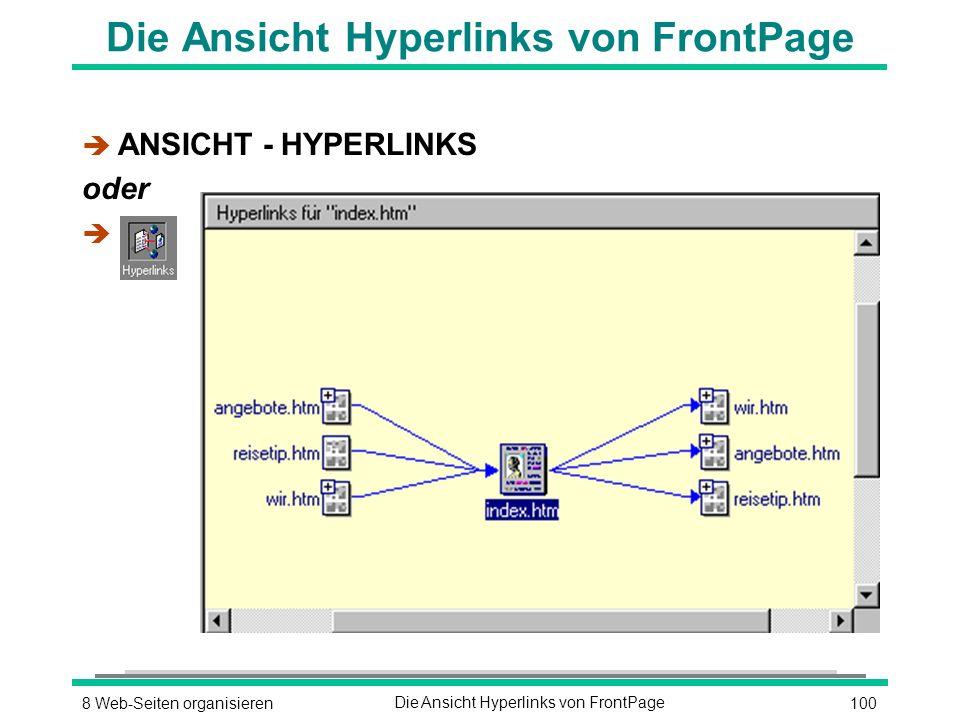1008 Web-Seiten organisierenDie Ansicht Hyperlinks von FrontPage è ANSICHT - HYPERLINKS oder è
