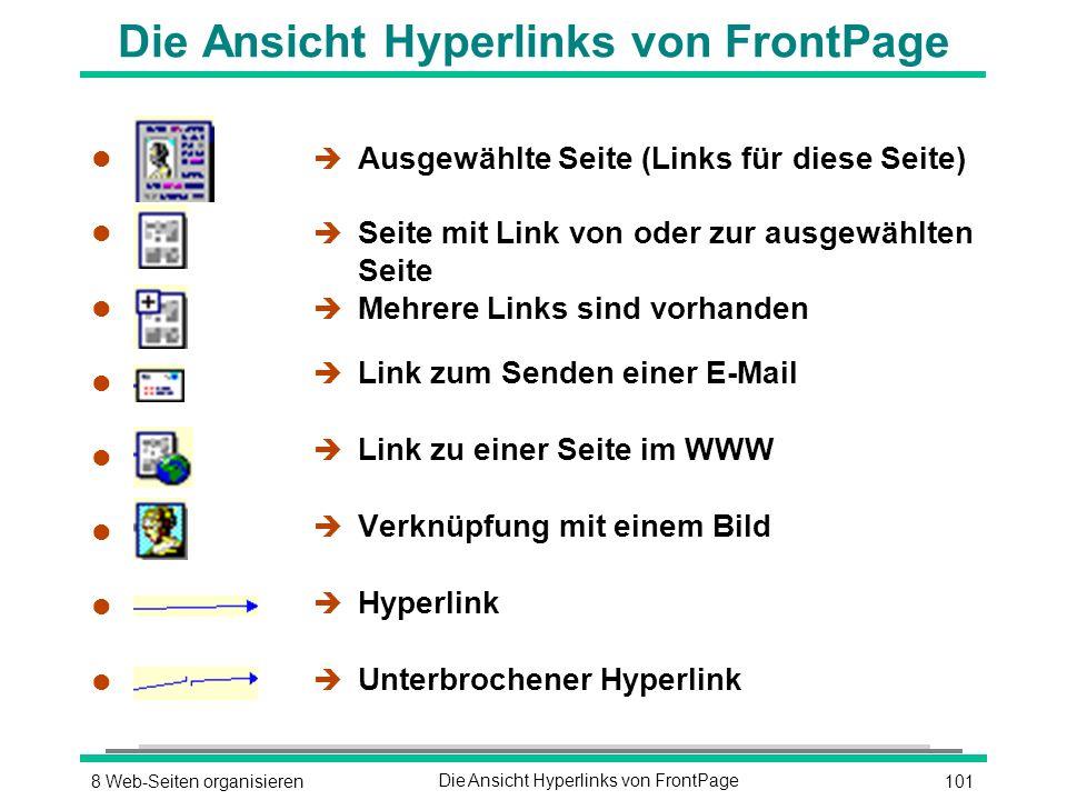 1018 Web-Seiten organisierenDie Ansicht Hyperlinks von FrontPage l l l l l l l l l l l l l l l l è Ausgewählte Seite (Links für diese Seite) è Seite mit Link von oder zur ausgewählten Seite è Mehrere Links sind vorhanden è Link zum Senden einer E-Mail è Link zu einer Seite im WWW è Verknüpfung mit einem Bild è Hyperlink è Unterbrochener Hyperlink