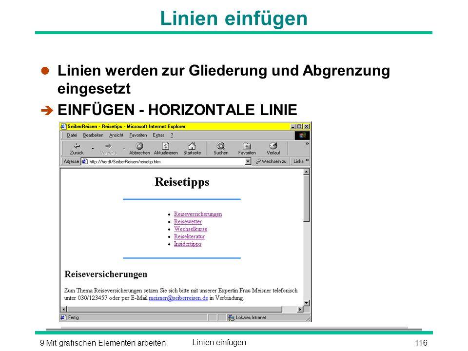 1169 Mit grafischen Elementen arbeitenLinien einfügen l Linien werden zur Gliederung und Abgrenzung eingesetzt è EINFÜGEN - HORIZONTALE LINIE