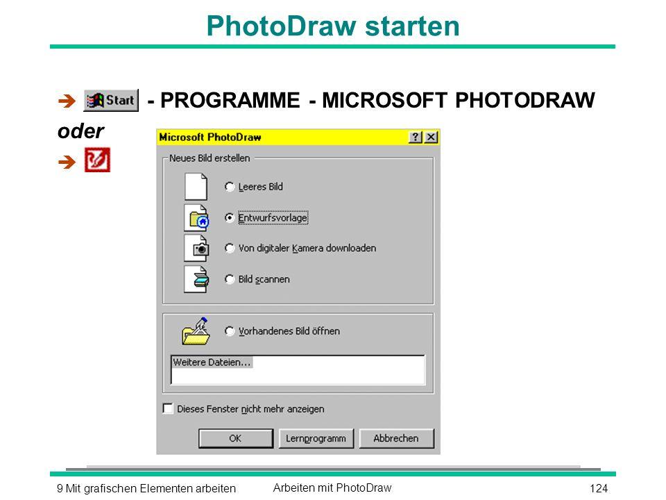 1249 Mit grafischen Elementen arbeitenArbeiten mit PhotoDraw PhotoDraw starten è - PROGRAMME - MICROSOFT PHOTODRAW oder è