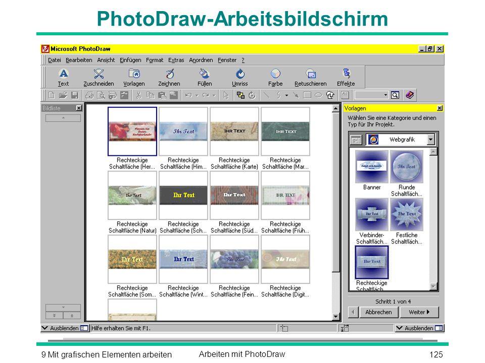 1259 Mit grafischen Elementen arbeitenArbeiten mit PhotoDraw PhotoDraw-Arbeitsbildschirm