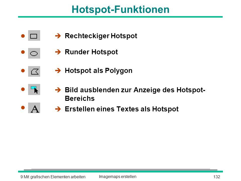1329 Mit grafischen Elementen arbeitenImagemaps erstellen Hotspot-Funktionen l l l l l l l l l l è Rechteckiger Hotspot è Runder Hotspot è Hotspot als Polygon è Bild ausblenden zur Anzeige des Hotspot- Bereichs è Erstellen eines Textes als Hotspot